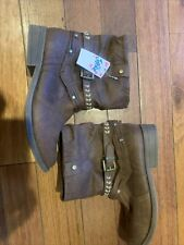 New Brown Justice Ankle Boots Embroidered Girls Size 7