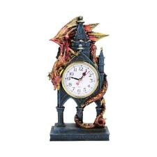 More details for nemesis now - time guardian - clock 27.5cm figurine ornament dragon gothic