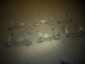 6 Vintage Clear Glass? (Bakelite?) Bar Furniture Drawer Pulls Knobs