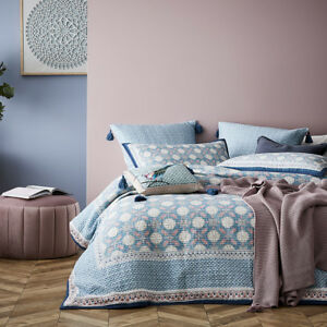 MERCER + REID QUILTED KING BED QUILT COVER 2 PILLOWCASES 2 EUROPEANS SET $399.96