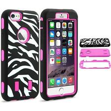iPhone 6 6S Zebra Pattern Rugged Hybrid Rubber Hard Box Case Cover - Hot Pink