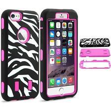 iPhone 6 6S Zebra Pattern Rugged Hybrid Rubber Hard Box Case Cover - Hot Pink