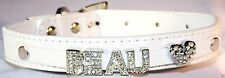 Croc Personalised Collar Dog Cat Pet Rhinestone Name Bling Charms PU Leather UK