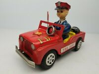 Vintage 1950's Nomura TN Battery Operated Jeep Fire Dept Tin Toy Car Japan