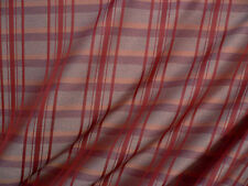Drapery Upholstery Fabric Reversible Faux Silk Plaid / Stripe Combo - Brick