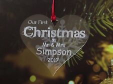 First 1st Christmas Tree Decoration Gift Bauble personalised mr and mrs