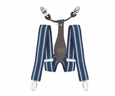 35mm Mens Braces Navy Stripe Classic Clip on Suspenders Elastic Trousers Jeans