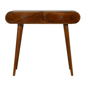 Console Table Dark Mango Wood Curved Rounded Brass Drawers Mid-century
