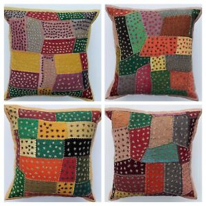 Handmade Cotton Embroidery Indian Vintage Ethnic Patchwork Cushion cover 40x40cm
