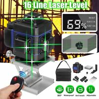 16 Line Laser Level Green Self Leveling 3D 360° Rotary Cross Measure Tool Remote