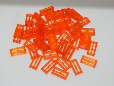 Lego Lot Of 50 Trans-Neon Orange Tile, Modified 1 x 2 Grille