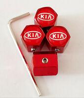 KIa Matte Red Locking Anti Theft Wheel Valve Dust caps all models With Allen Key
