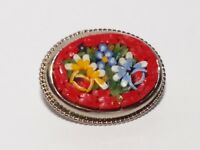 VINTAGE Red MICRO MOSAIC PIN Silver Tone FLOWERS Brooch OVAL
