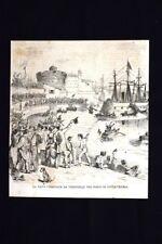 La nave corazzata la Terribile nel porto di Civitavecchia Incisione del 1870