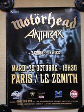 AFFICHE ORIGINALE MOTORHEAD / ANTHRAX CONCERT PARIS le zenith 78X58cm