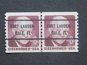 (1) MNH U S. Coil Line pair precancel stamp-8  c Eisenhower Fort Lauderd. cancel