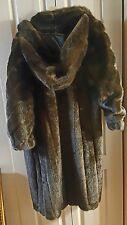 faux mink hooded coat Donna Saylors fabulous furs long choc brown size p