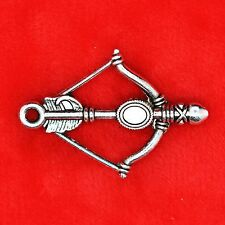 8 x Tibetan Silver Bow and Arrow Charm Pendant Finding Bead Jewellery Making
