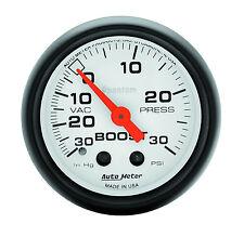 "Auto Meter 5703 Phantom Mechanical 30 Psi Boost Press / Vacuum Gauge 2 1/16"""