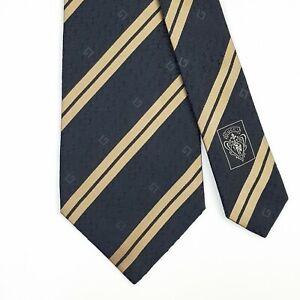 GUCCI TIE G & Gold Striped in Black Classic Woven Silk Necktie
