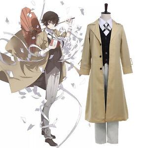 Bungo Stray Dogs Dazai Osamu Cosplay Costume Mens Unisex Suit Anime Outfit Coat