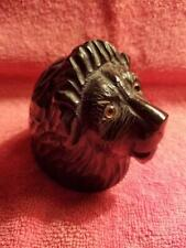 Antique English Wood Lion Head Glass Eyes Ink Well And Pen Wiper