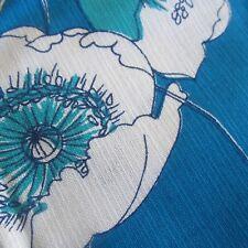 50CM X 91CM VINTAGE Cotton Fabric 1960S Aqua Blue Poppy Floral Sew Craft Retro