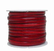Ziegenleder Lederriemen, Lederband flach rot, Kanten schwarz gefärbt, Länge 25 m