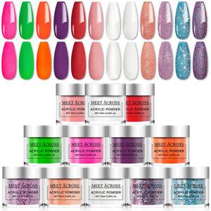 MEET ACROSS 21 Colors Acrylic Nail Art Gel Powder Design Decoration 3D Manicure