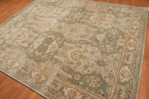 Old Hand Made Green Parsian Heriz Style Traditional Oriental Wool Area Rug