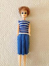 "Vintage plastic doll - 11.5"" - bleu Tricot Jupe & Top"