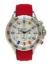 Nautica Mens NVL100 Chronograph Nautical Flag Watch White Dial Red Strap N24515G