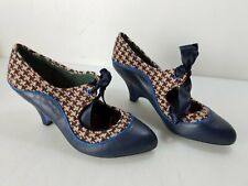 """Poetic License London Womens Navy Brown Fabric & Leather 3"""" Pumps Size 39"""