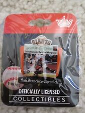 """2009 Bengie Molina SF Giants """"Molina Solid Behind The Plate"""" Pin Sporting Green"""