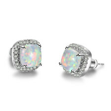 Princess Cut White Fire Opal Square Stud Earrings 925 Silver Women Wedding Gifts