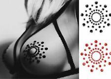 Black Rhinestone Round Circle Pastease Nipple Petals Pasties Breast Stickers 1pr