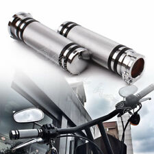 1Inch 25mm Silver Aluminum Motor Handlebar Grips Hand Grips for Harley Sports