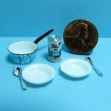 Dollhouse Miniature Soup Set with Pan, Bowls, Spoons and Soup Can ~ CAR0086