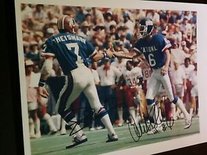 Ali Haji-Sheikh Giants & Joe Theismann Wash. Pro Bowl AUTOGRAPHED 8x10 photo
