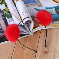 Fashion Women Party Rabbit Cute Headband Hairband Fluffy Fur Ball Double