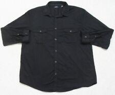 Black Dress Shirt XXL Cotton Polyester Solid Long Sleeve Alfani Men's 2 Pocket