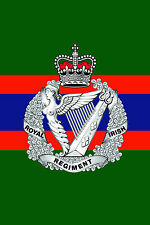ROYAL IRISH REGIMENT CAP BADGE PRINTED ON A METAL SIGN 5 x 7 INCHES.