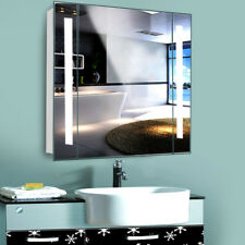 LED Illuminated Bathroom Mirror Cabinets Storage Shaver Socket Sensor Demiter UK