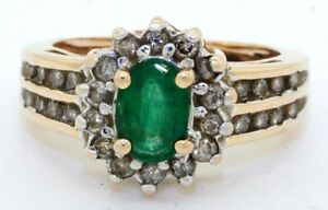 Heavy 14K YG 1.52CT diamond emerald cluster cocktail ring size 5.25