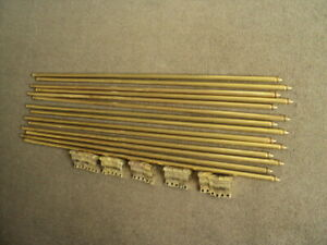 13 VINTAGE SOLID  BRASS STAIR RODS AND ORIGINAL  BRACKETS X 26