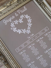 A3 Floral heart wedding seating / table plan made to order any cols -can do A2