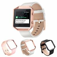 Genuine Leather Replacement Wristband Strap & Frame For Fitbit Blaze Smart Watch