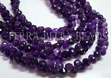 "8"" full strand AMETHYST faceted gem stone onion briolette beads 5mm purple"