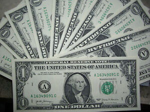 10 x 1 US USA Dollar buck kassenfrisch USD Banknote echtes Geld TEN UNC