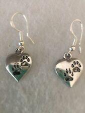 "Cute Silver ""Love My Pet"" Engraved Paw Print Heart Charm Dangle Drop Earrings"